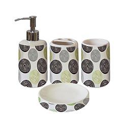 Set 4 piezas de baño diseño espirales