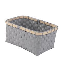 Cesto rectangular gris y bambu 31x22x15 cm