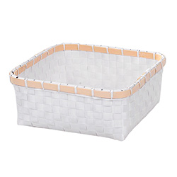 Cesto cuadrado blanco y bambu 28x28x12 cm