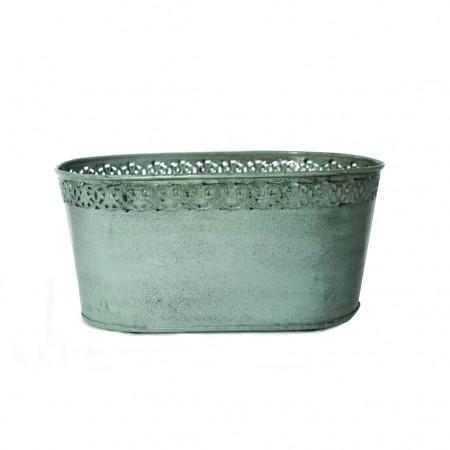 Maceta metal verde oval 19x13x10