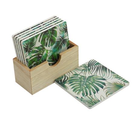 Posa vaso madera palma